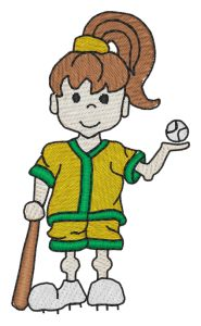 Softball Girl Embroidery Designs:SP2157