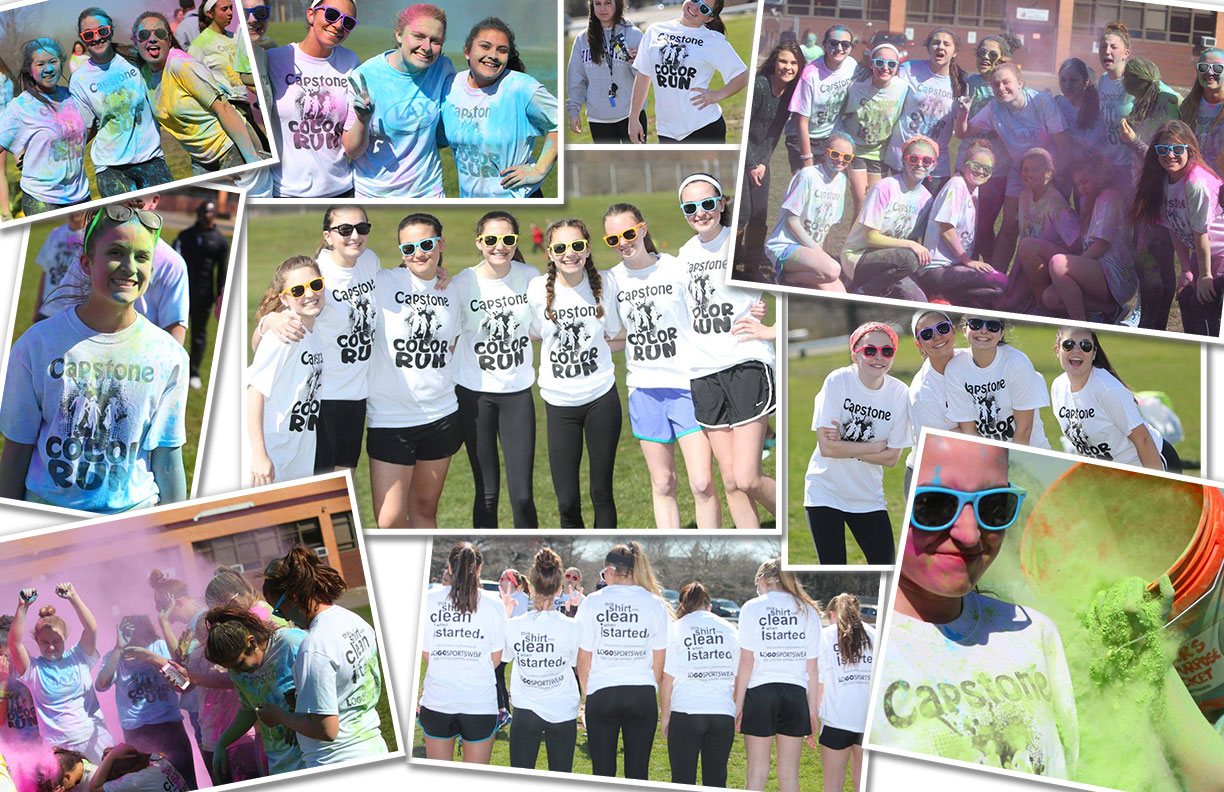 2016 Capstone Color Run at Mark T. Sheehan High School in Wallingford, CT, on March 30, 2016.