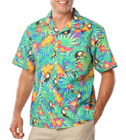Camp Shirts New Stain Release, Tropical Print