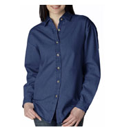 UltraClub Womens Long Sleeve Denim Shirt