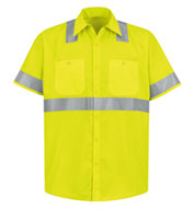 Red Kap ANSI 107-2004 Class 2 Level 2 Compliant Hi-Visibility Shirt