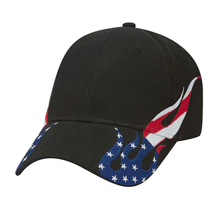 Racing Cap United States Flag Flame Pattern