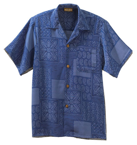 Edwards Camp Shirts South Seas Geometric Print