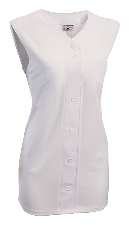 Teamwork 1846B On Deck Faux Full Button Sleeveless Jersey - Womens
