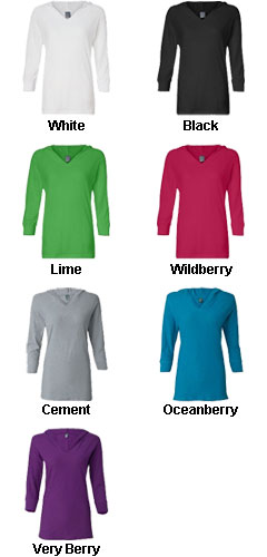 J. America - Ladies � Sleeve Hooded Slub Tee - All Colors
