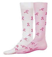 I Care Compression Socks with Pink Awareness Ribbons