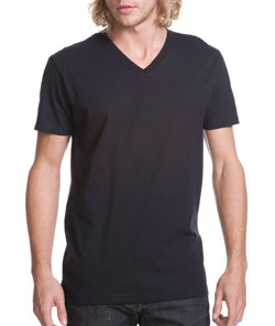 Short Sleeve V-Neck Premium Fitted Cotton Tee - Mens