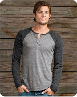 Alternative Raglan Henley T-Shirt Long Sleeve 4.4 oz Triblend Unisex