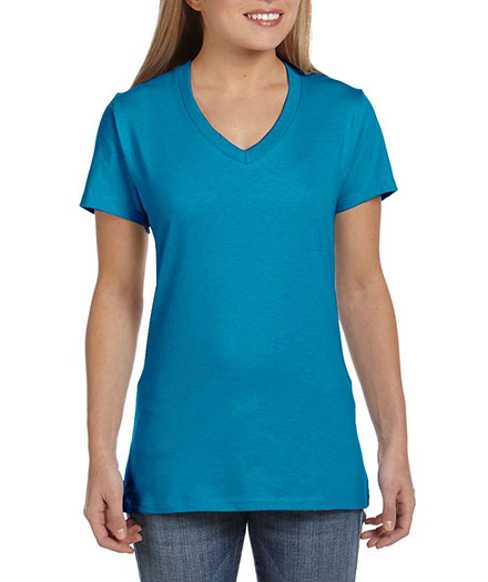 Hanes V-Neck 100% Ringspun Cotton Nano-T 4.5 Oz T-Shirt - Ladies