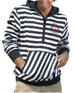 Hooded Sweatshirt Cape Point Stripe Mens