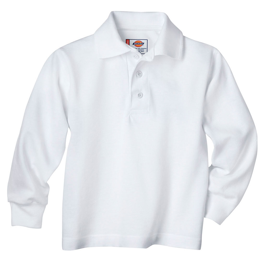 Custom kids long sleeve pique polo shirt by dickies for Personalized polo shirts for toddlers