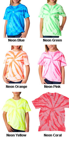 Gildan Youth Tie-Dye Neon One-Color Pinwheel Tee  - All Colors