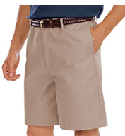 Mens Teflon Treated Twill Flat Front Shorts