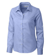 Ladies Easy Care Mini Herringbone Dress Shirt