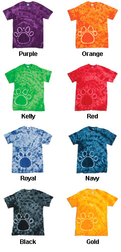 Gildan Youth Tie-Dye Pawprint T-Shirt - All Colors