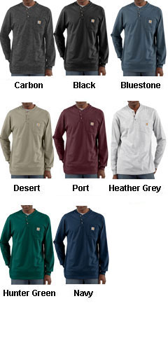 Carhartt Mens Pocket Long-Sleeve Henley - All Colors