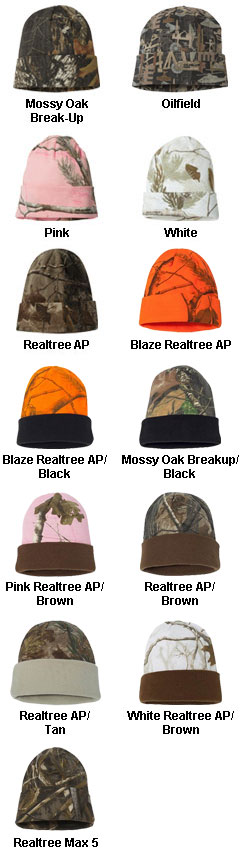12 inch  Camo Beanie with Cuff - All Colors