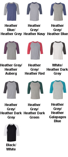 Anvil Adult Tri-Blend 3/4-Sleeve Raglan Tee  - All Colors
