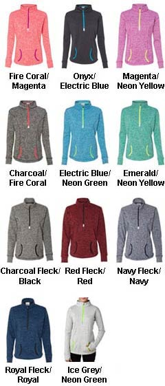 J. America Womens Cosmic Fleece Quarter Zip Pullover - All Colors