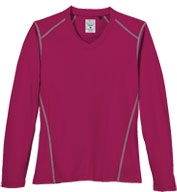 Ladies Contrast Stitch Long Sleeve V-Neck Tee