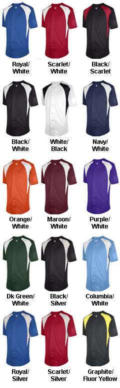 Adult Cutoff Full Button Baseball Jersey - All Colors