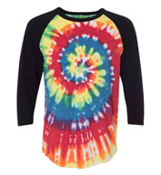 Dyenomite Tie Dyed Three Quarter Sleeve Raglan T-Shirt