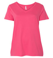 LAT - Curvy Collection Womens V-Neck Tee