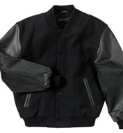 Adult Classic Black On Black Leather and Wool Varsity Jacket