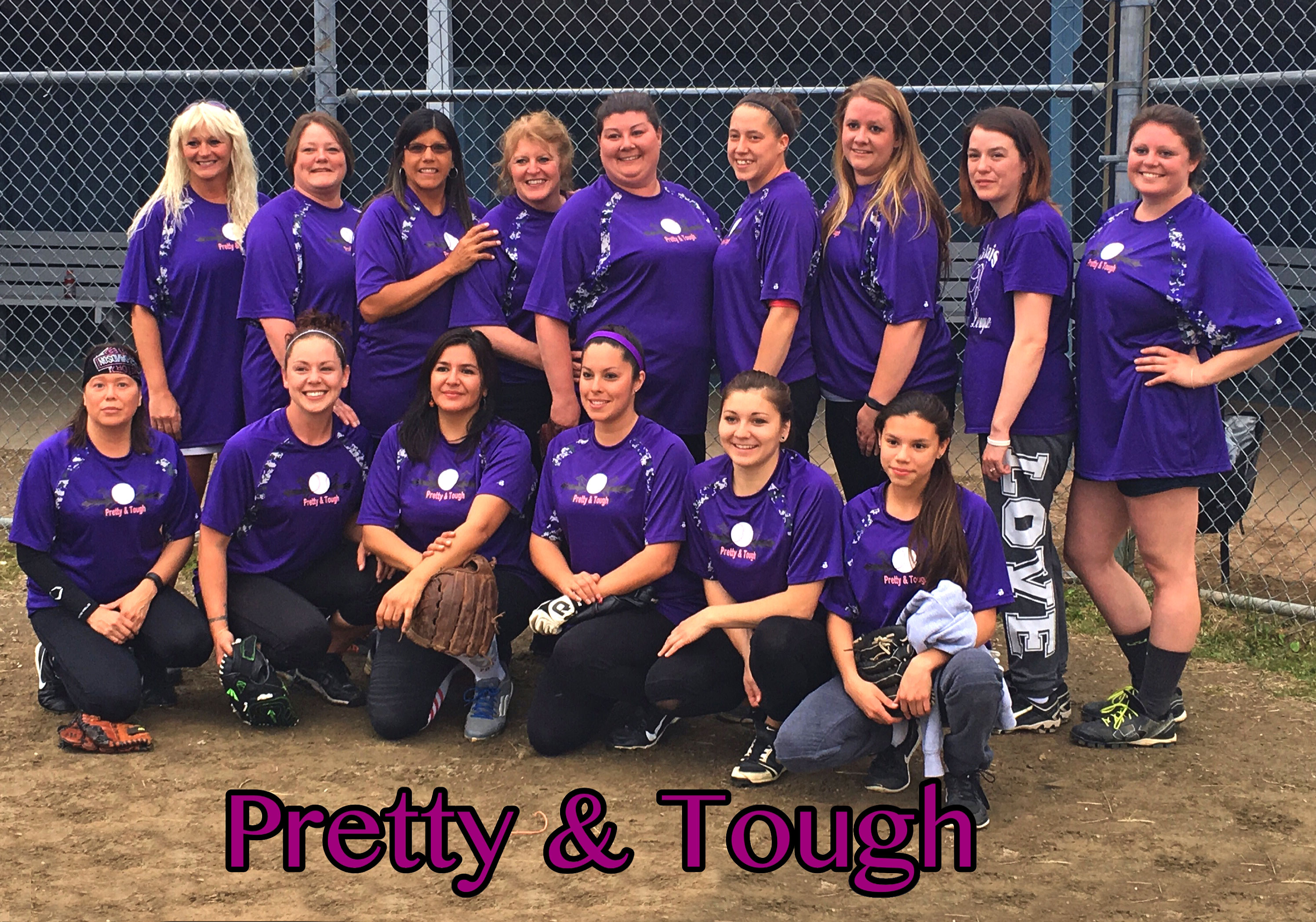 Pretty & Tough Softball in custom softball jerseys from TeamSportswear