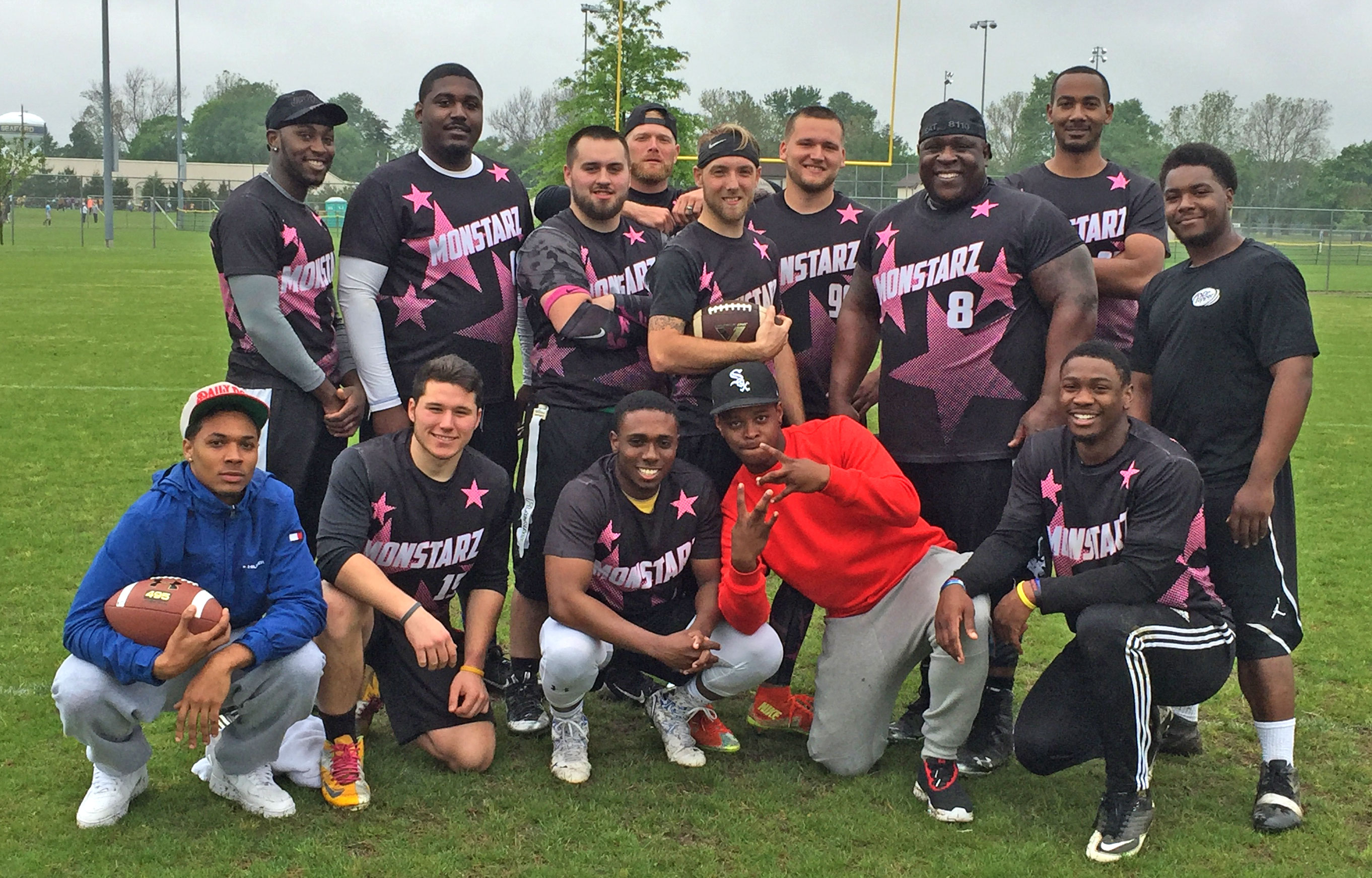 Monstarz Flag Football donning custom sublimated jerseys