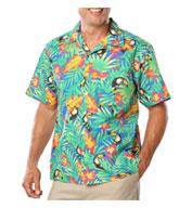 Blue Generation Adult Tropical Print Camp Shirts