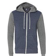 Alternative Mens Rocky Color-Block Eco-Fleece  Full-Zip Hoodie