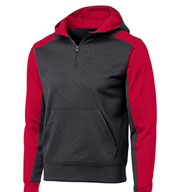 Sport-Tek® Mens Colorblock Tech Fleece 1/4-Zip Hooded Sweatshirt