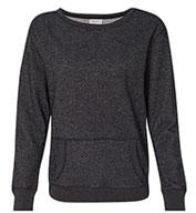 J.America Ladies Glitter Crewneck Sweatshirt
