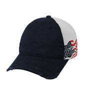 Outdoor Cap Unstructured Frayed Visor American Flag Mesh Back