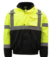 GSS Safety Class 3 Mens Waterproof Quilt-Lined Bomber Jacket
