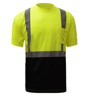 GSS Safety Mens Class 2 Safety Black Bottom T-Shirt