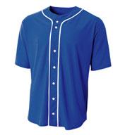 A4 Adult Short Sleeve Full Button Baseball Top