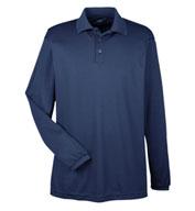 UltraClub Mens Cool & Dry Long Sleeve Mesh Pique Polo
