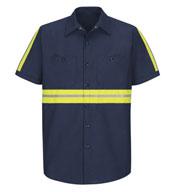 Red Kap Mens Enhanced Visibility Industrial Work Shirt
