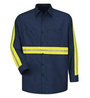 Red Kap Mens Enhanced Visibility L/S Industrial Work Shirt