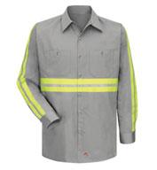 Red Kap Mens Enhanced Visibility L/S Cotton Work Shirt
