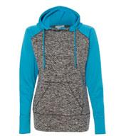 J America Ladies Colorblock Cosmic Fleece Hooded Pullover Sweatshirt