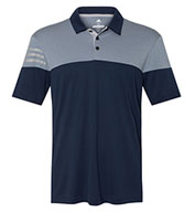 Adidas Mens Heathered 3-Stripes Block Sport Shirt