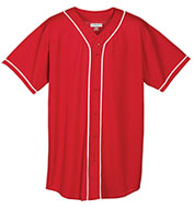 Augusta Adult Wicking Mesh Button Front Jersey With Braid Trim