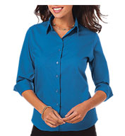Blue Generation Ladies Superblend 3/4 Sleeve Poplin Shirt