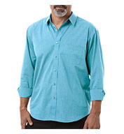 Blue Generation Mens Long-Sleeve Untucked Crossweave Shirt