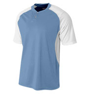 A4 Mens 2-Button Henley w/Contrast Stretch Mesh