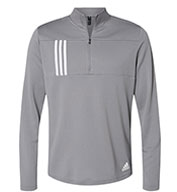 Adidas Mens 3-Stripes Double Knit Quarter-Zip Pullover